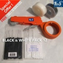 BLACK & WHITE CABLE TIE GUN PACK 12
