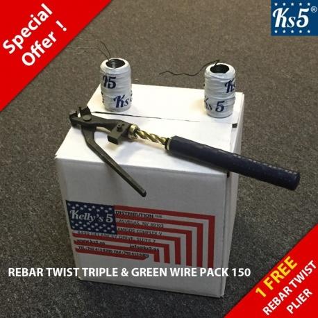 REBAR TWIST TRIPLE & GREEN WIRE PACK 150