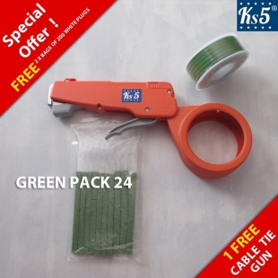 GREEN CABLE TIE GUN PACK 24